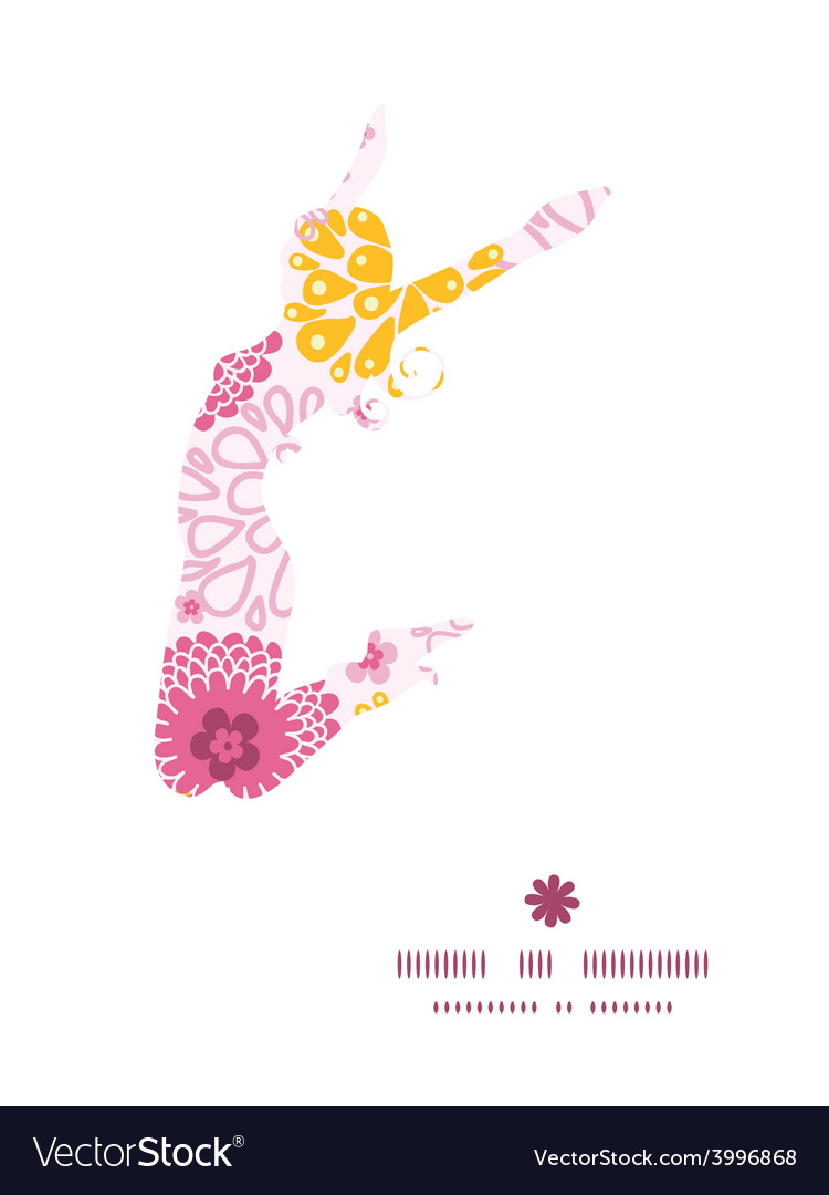 Pink field flowers jumping girl silhouette vector | Price: 1 Credit (USD $1)
