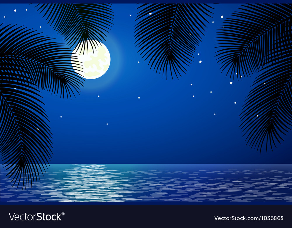 Sea landscape with the moon and palm trees vector | Price: 1 Credit (USD $1)