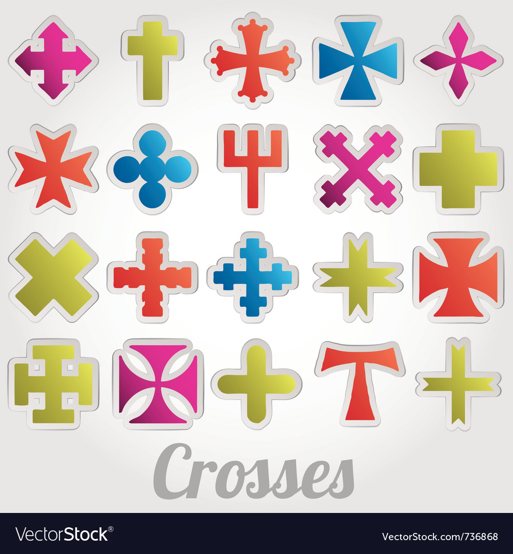 Set crosses various religious symbols vector | Price: 1 Credit (USD $1)