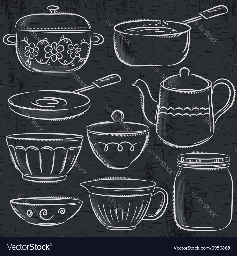 Set of different tableware on blackboard vector | Price: 1 Credit (USD $1)