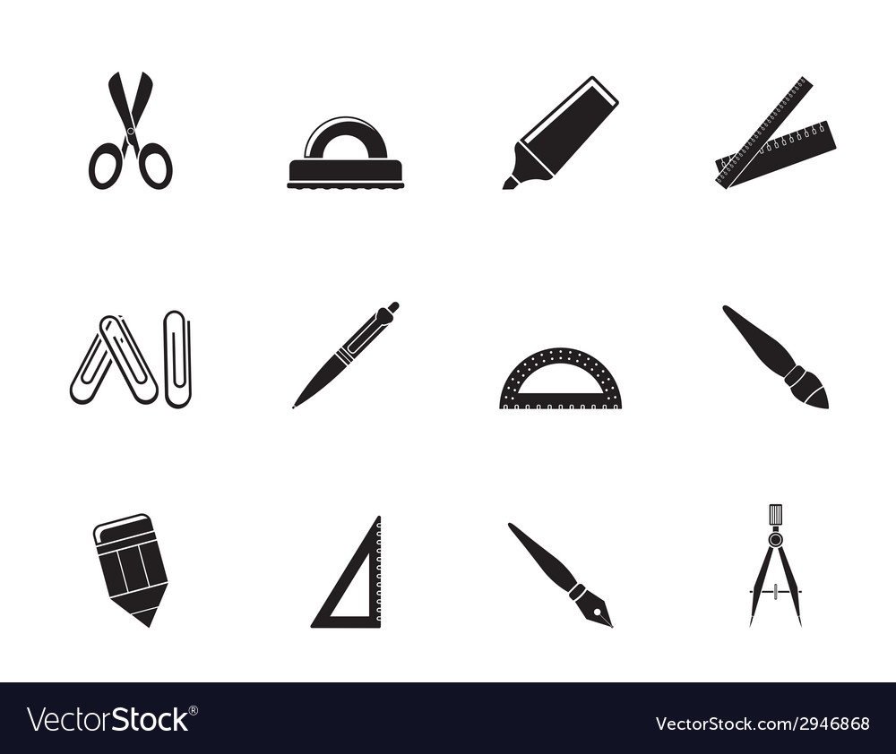 Silhouette school and office tools icons vector | Price: 1 Credit (USD $1)