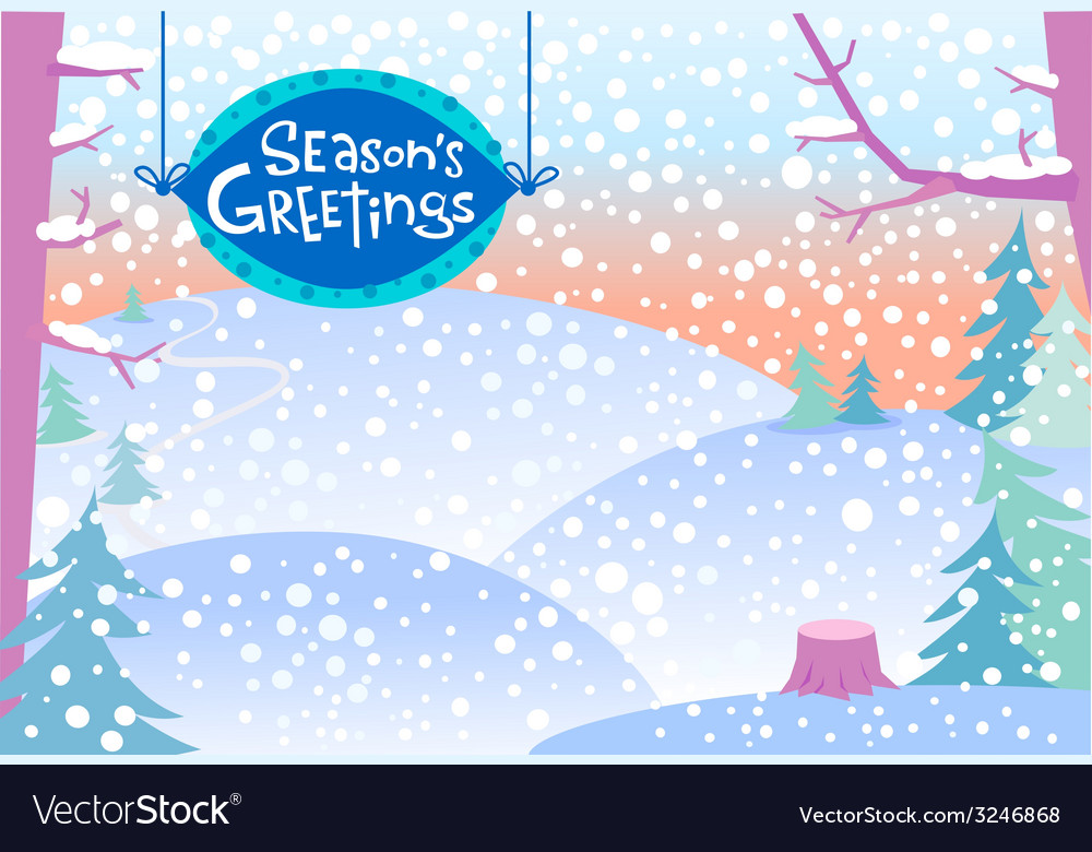 Snow winter landscape vector | Price: 1 Credit (USD $1)