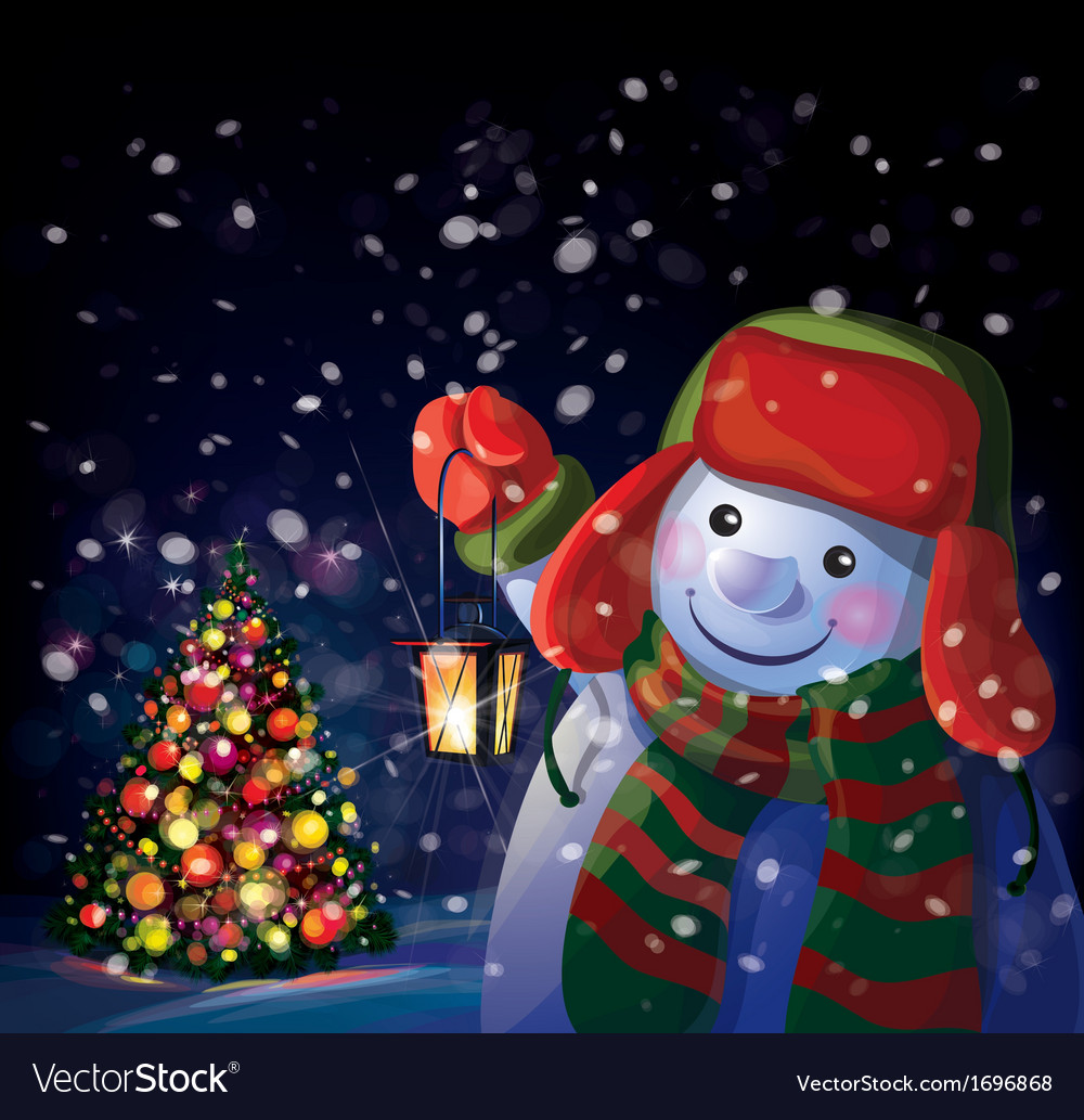 Snowman tree vector | Price: 1 Credit (USD $1)