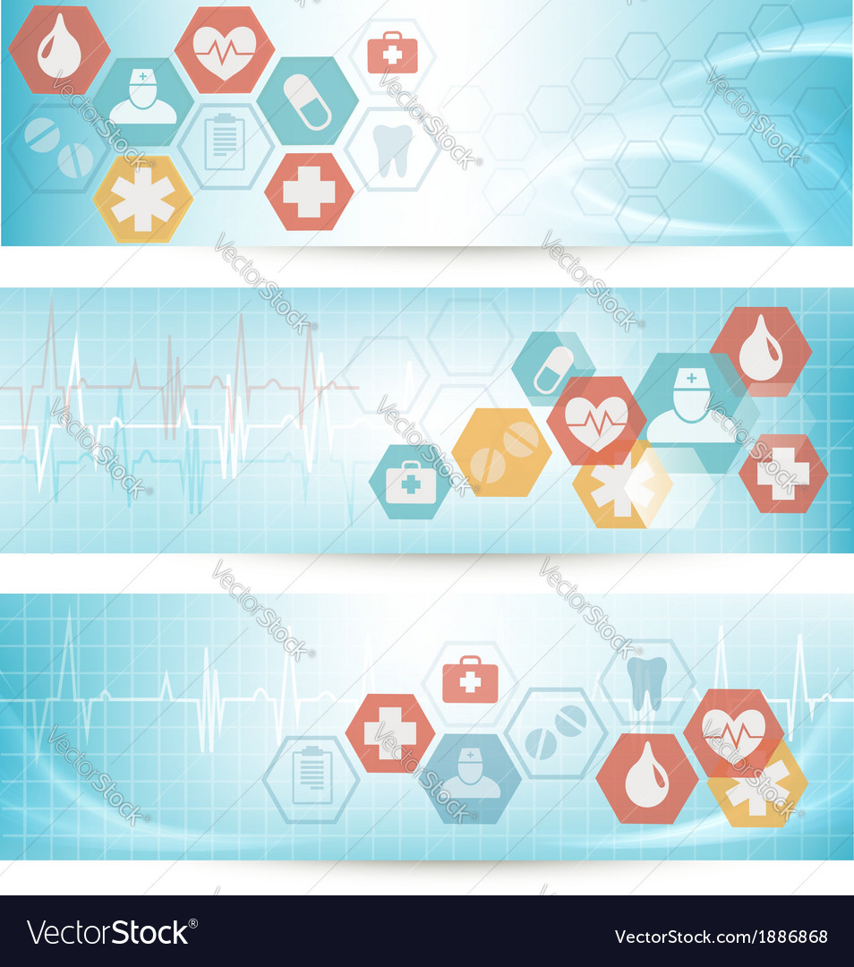 Three medical banners with icons vector | Price: 1 Credit (USD $1)