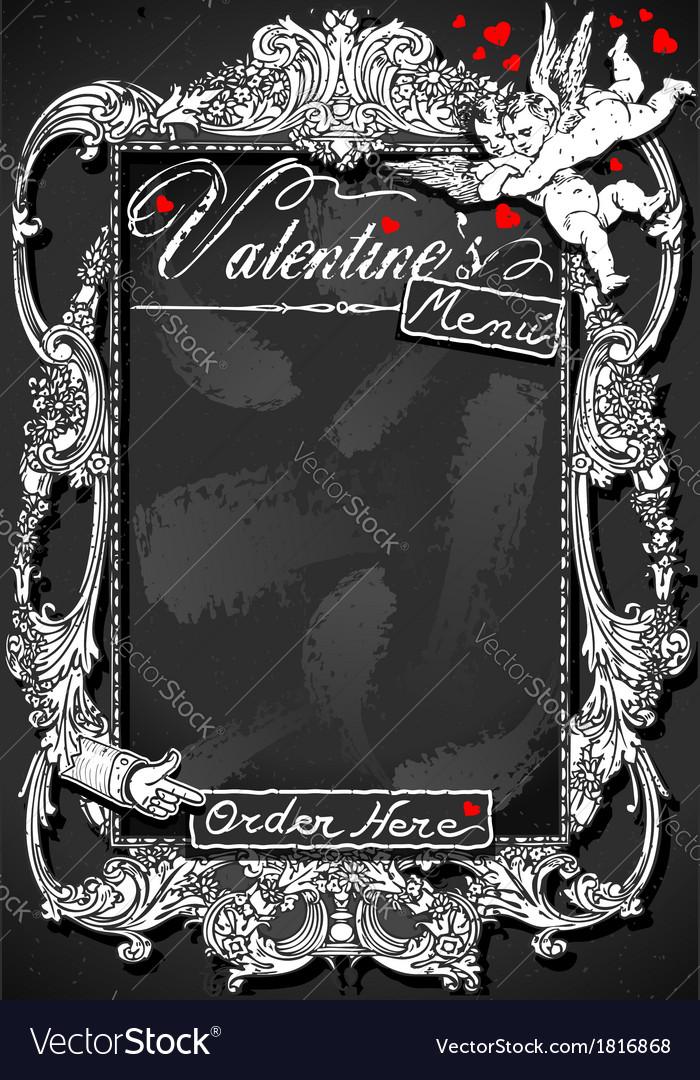 Vintage blackboard for valentine s menu vector | Price: 1 Credit (USD $1)