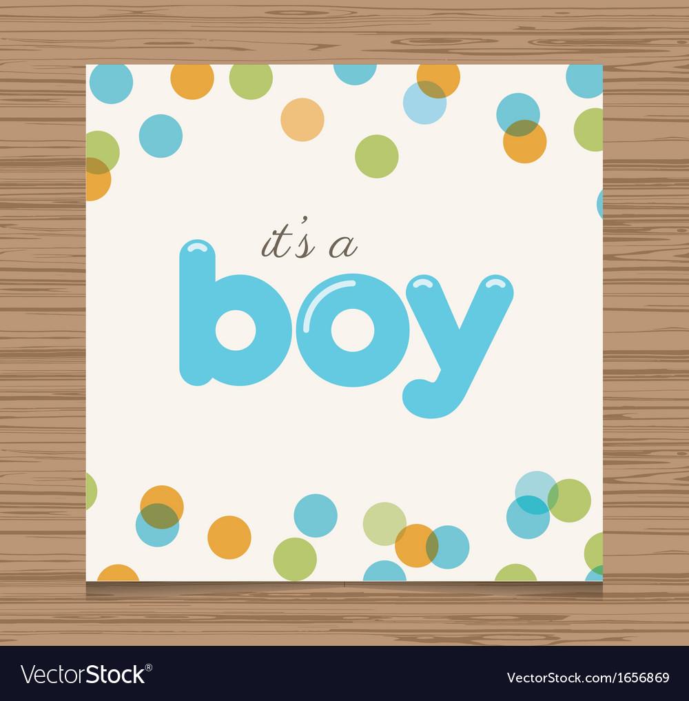 Baby shower card boy vector | Price: 1 Credit (USD $1)