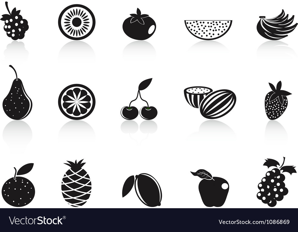 Black fruit icons set vector | Price: 1 Credit (USD $1)