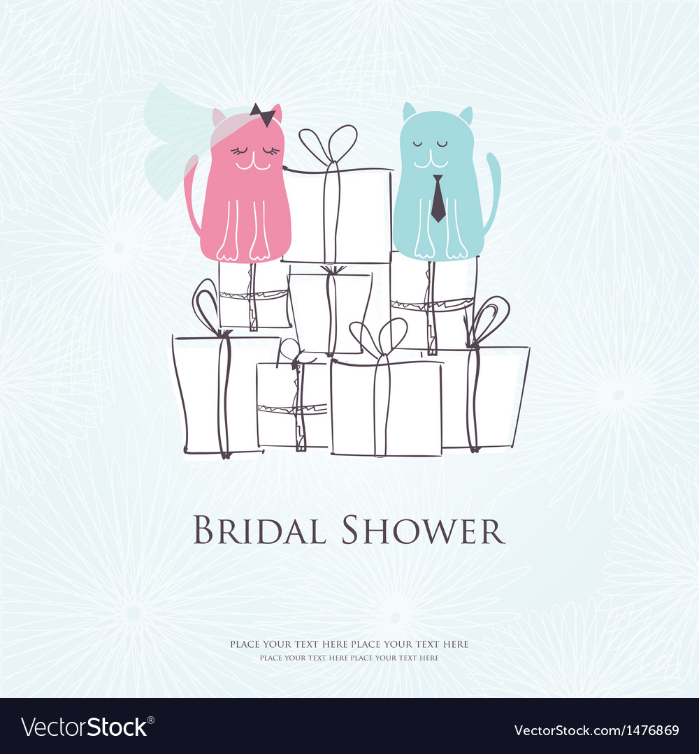 Bridal shower invitation card with two cute cats vector | Price: 1 Credit (USD $1)