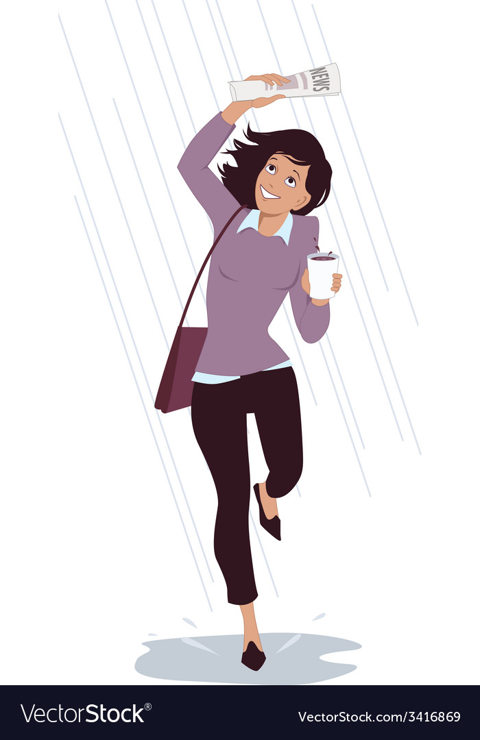 Caught in the rain vector | Price: 1 Credit (USD $1)