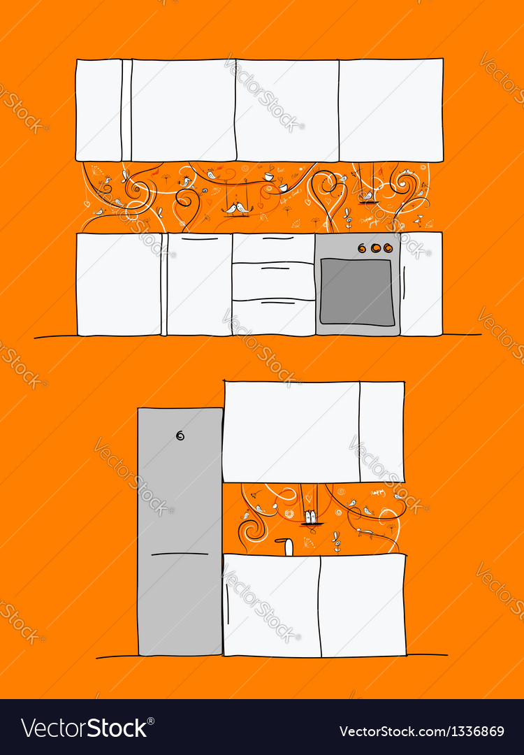 Design of kitchen wall with funny birds and cats vector | Price: 1 Credit (USD $1)
