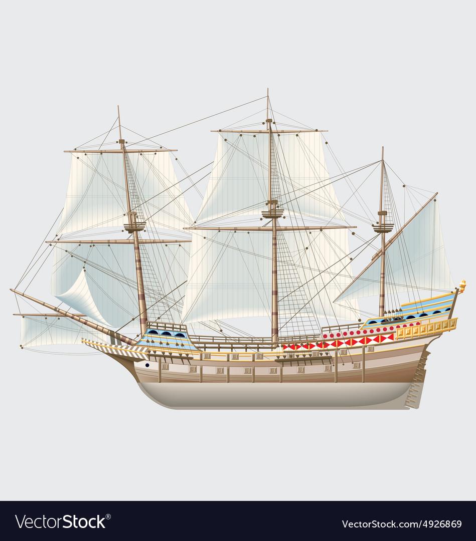 Detailed vintage ship galeon vector