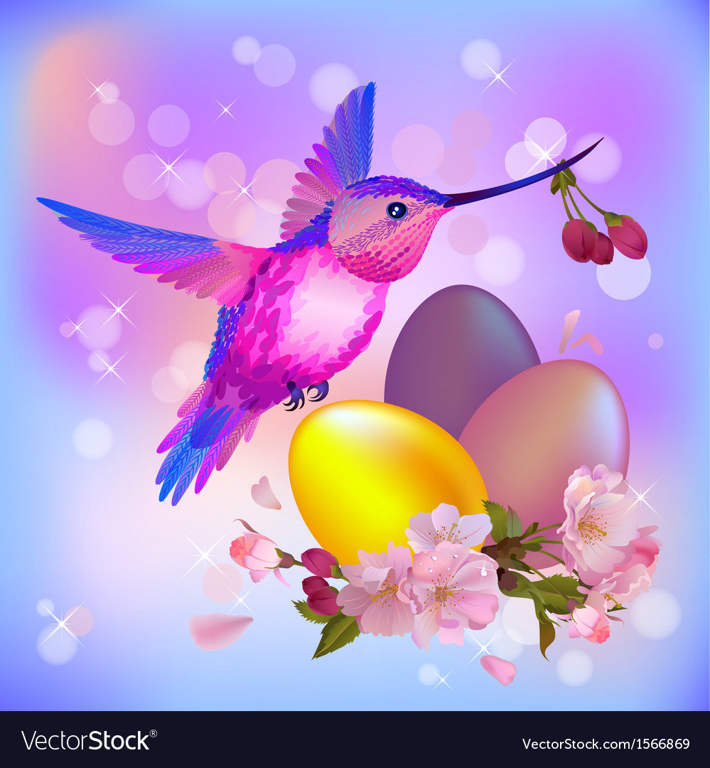 Easter greeting card with eggs cherry flowers and vector | Price: 1 Credit (USD $1)