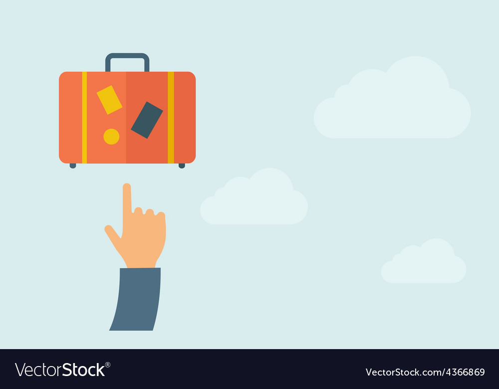 Hand pointing to luggage vector | Price: 1 Credit (USD $1)