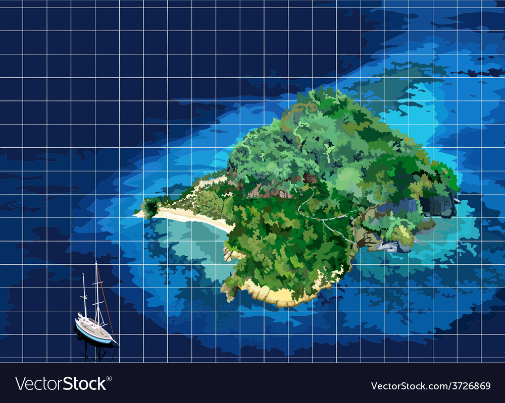 Island yacht vector | Price: 3 Credit (USD $3)