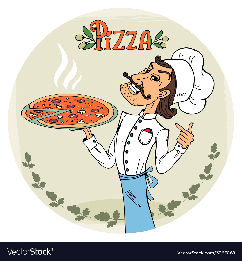 Italian chef with a steaming hot pizza vector | Price: 1 Credit (USD $1)