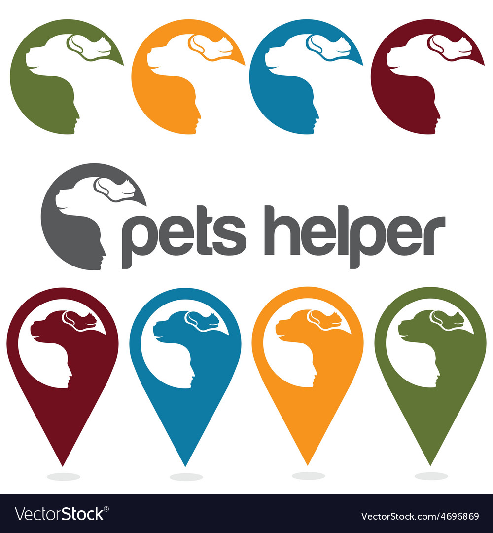 Pets helper design template pins and web icons set vector | Price: 1 Credit (USD $1)