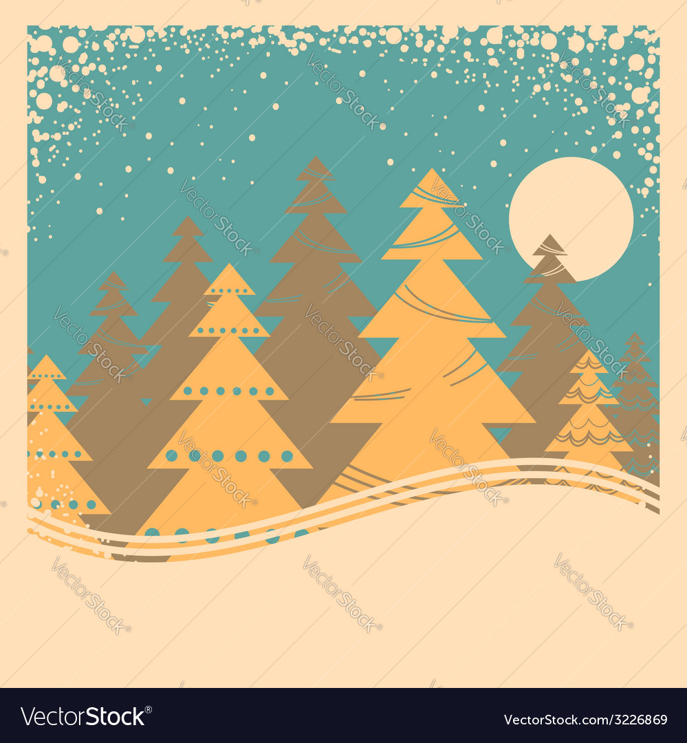 Vintage winter card with snow frame on old poster vector | Price: 1 Credit (USD $1)