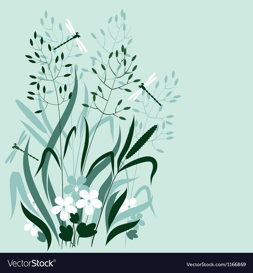 Wild grass and dragonflies vector | Price: 1 Credit (USD $1)