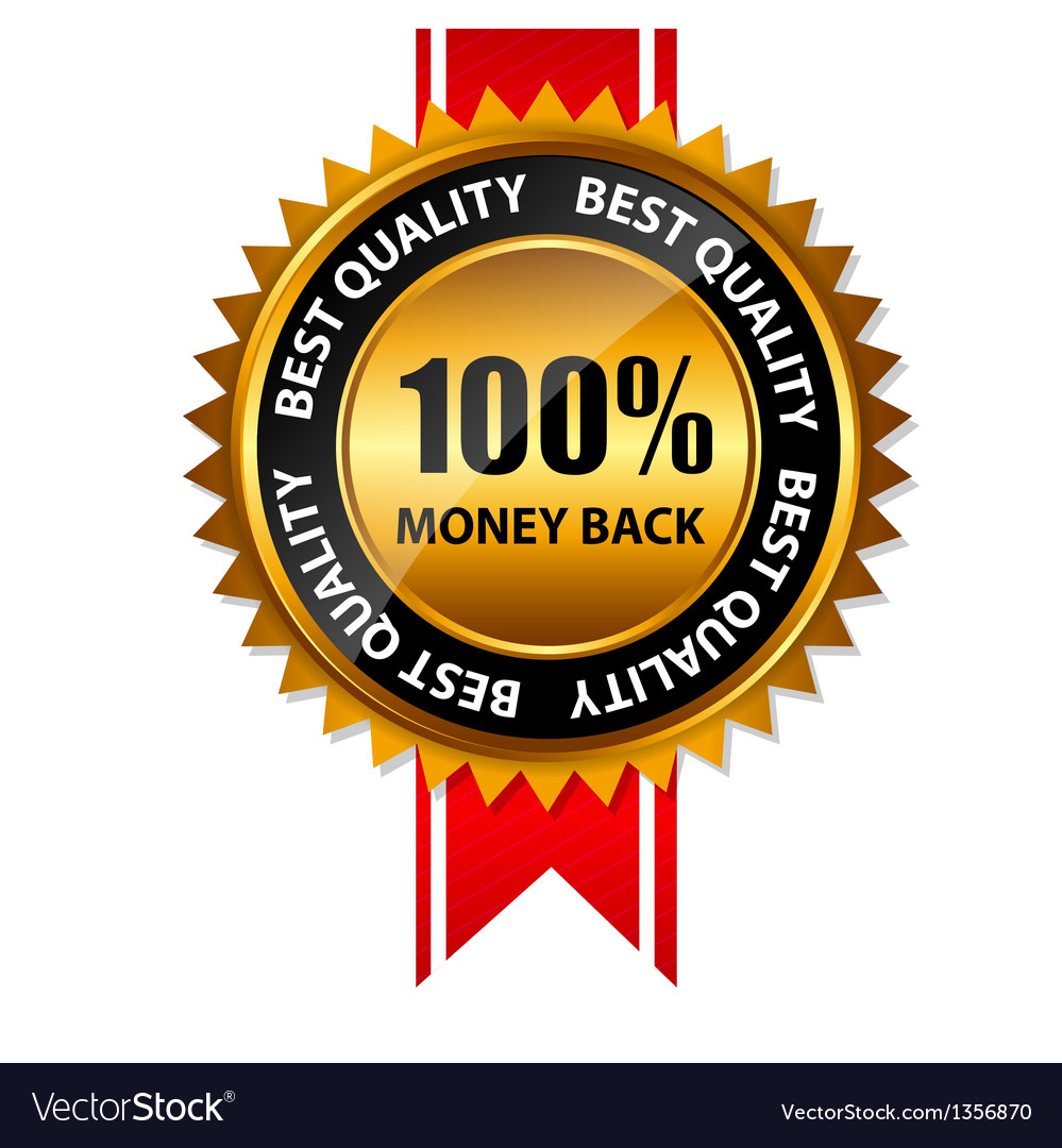 100 money back gold sign label template vector | Price: 1 Credit (USD $1)