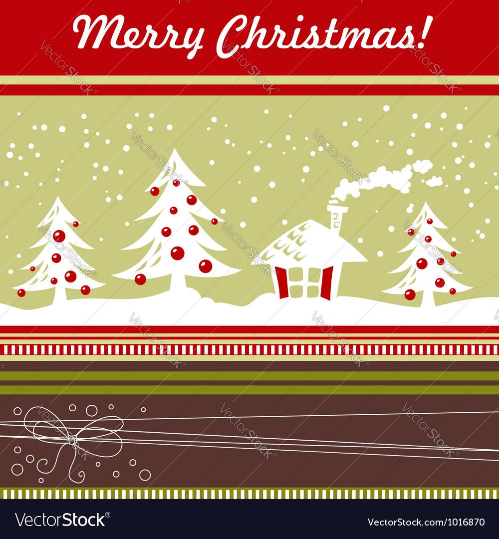 Cartoon christmas card with xmas tree vector | Price: 1 Credit (USD $1)