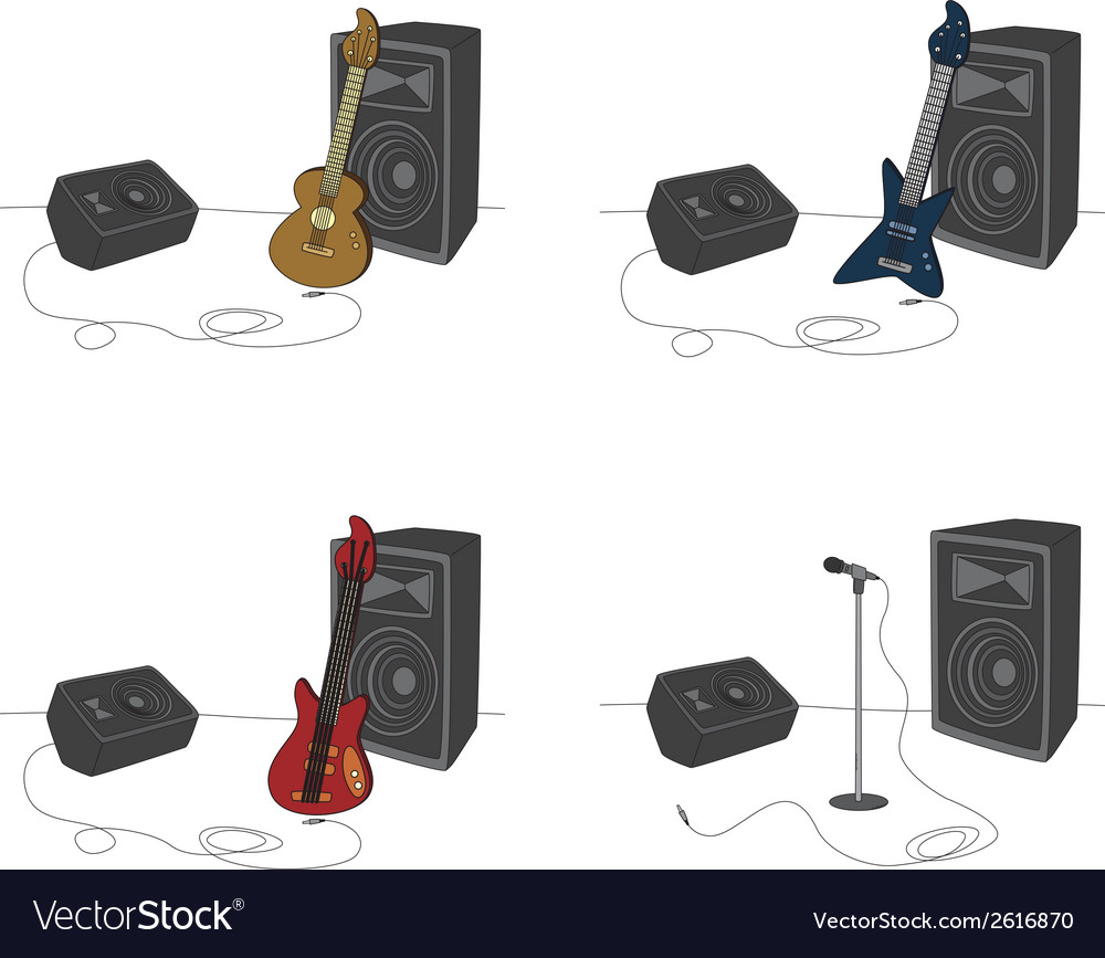 Guitars and amps vector | Price: 1 Credit (USD $1)