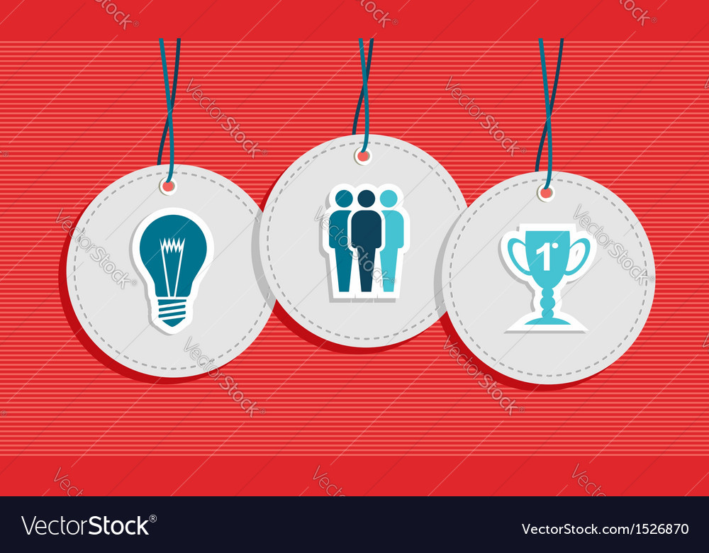 Hanging team work badges concept vector | Price: 1 Credit (USD $1)