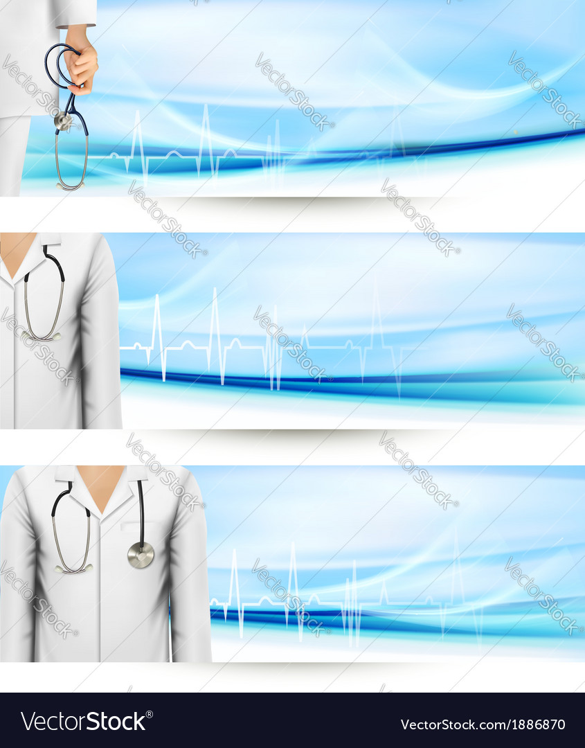 Medical banners with a doctors lab white coat and vector | Price: 1 Credit (USD $1)