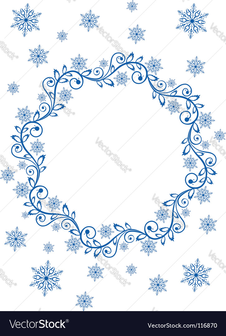 Snow frame and snowflakes vector | Price: 1 Credit (USD $1)