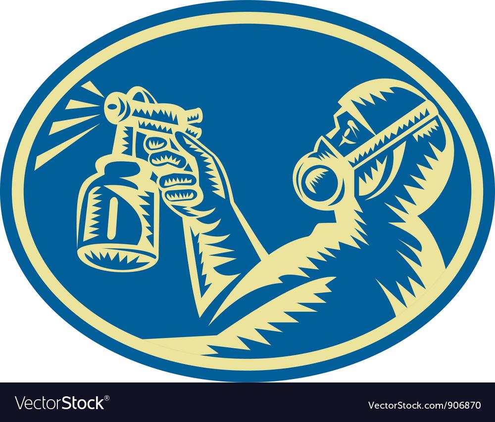 Spray painter spraying gun retro vector   Price: 3 Credit (USD $3)