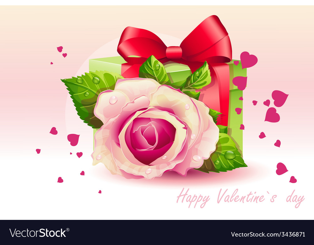 Card for valentines day pink rose with green box vector | Price: 3 Credit (USD $3)