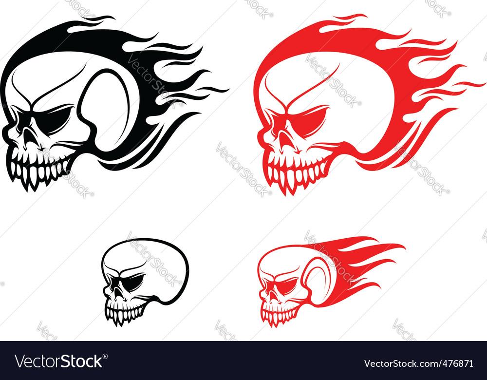 Danger skulls with flames vector | Price: 1 Credit (USD $1)