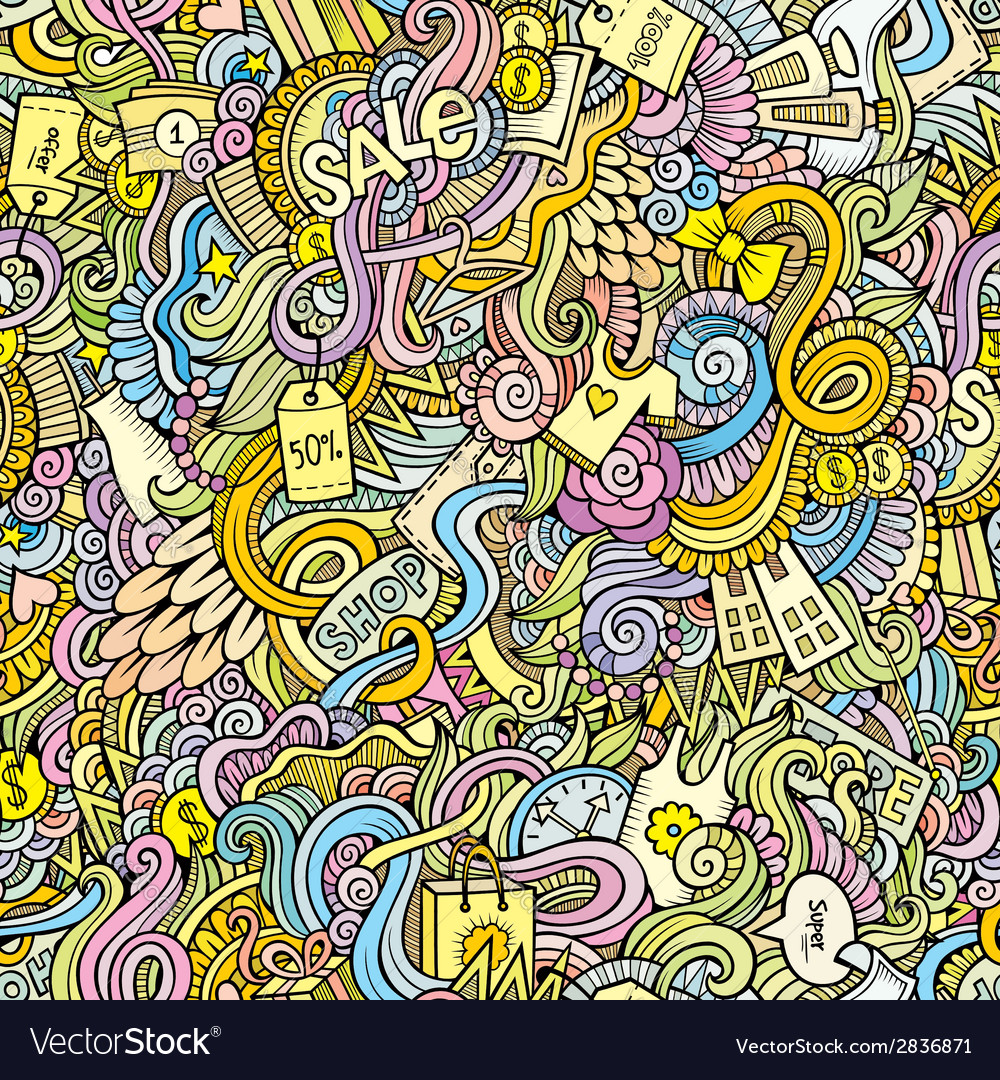 Doodles hand drawn sale shopping seamless pattern vector | Price: 1 Credit (USD $1)