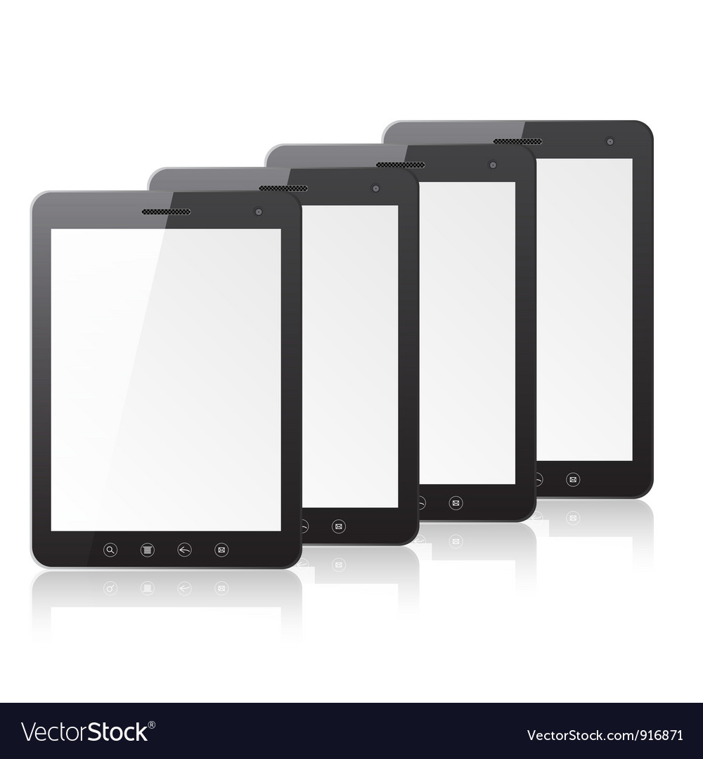 Four tablet pc computer vector | Price: 1 Credit (USD $1)