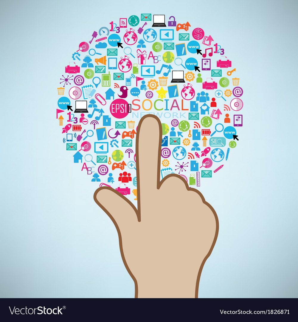 Hand clicking social icon concept eps10 vector | Price: 1 Credit (USD $1)