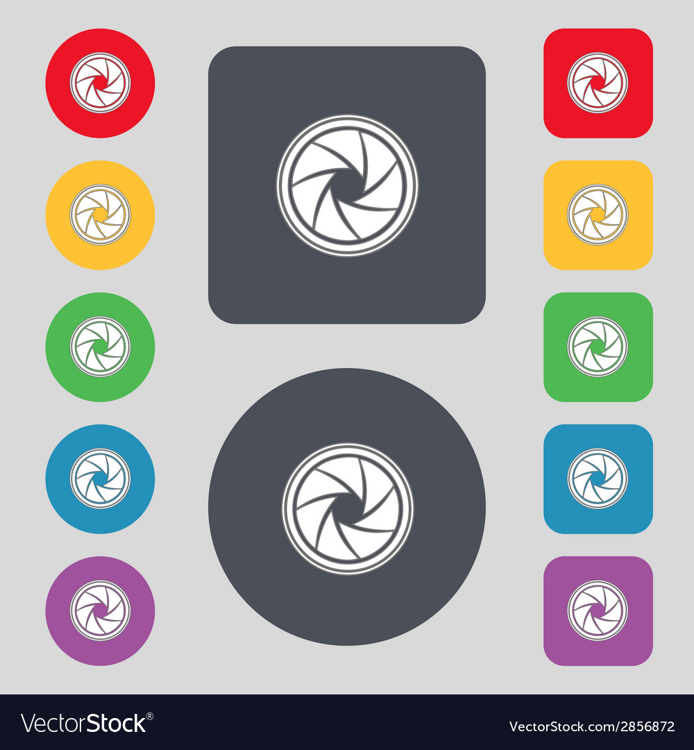 Diaphragm icon aperture sign set colourful buttons vector   Price: 1 Credit (USD $1)
