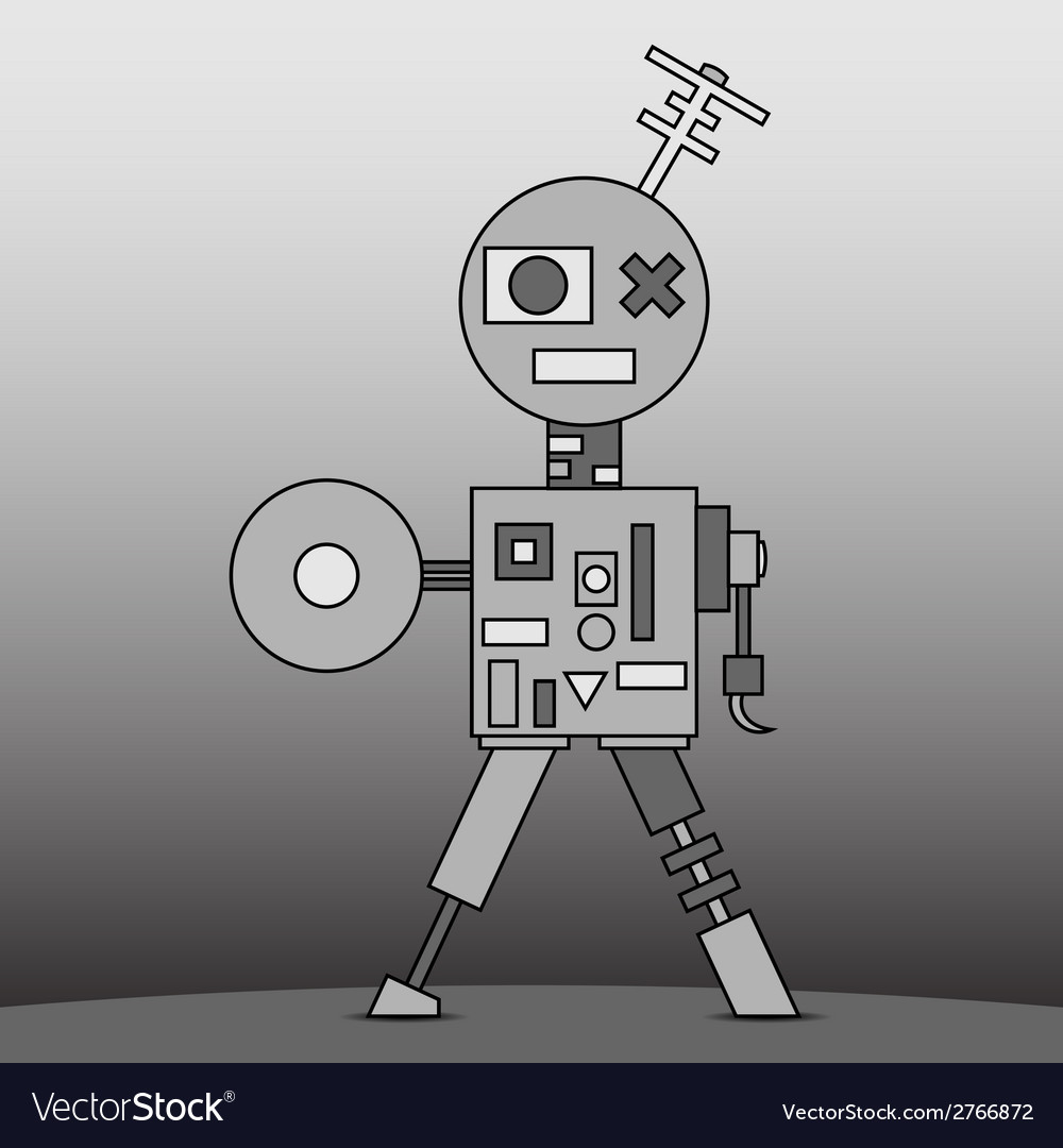 Gray cartoon robot vector | Price: 1 Credit (USD $1)