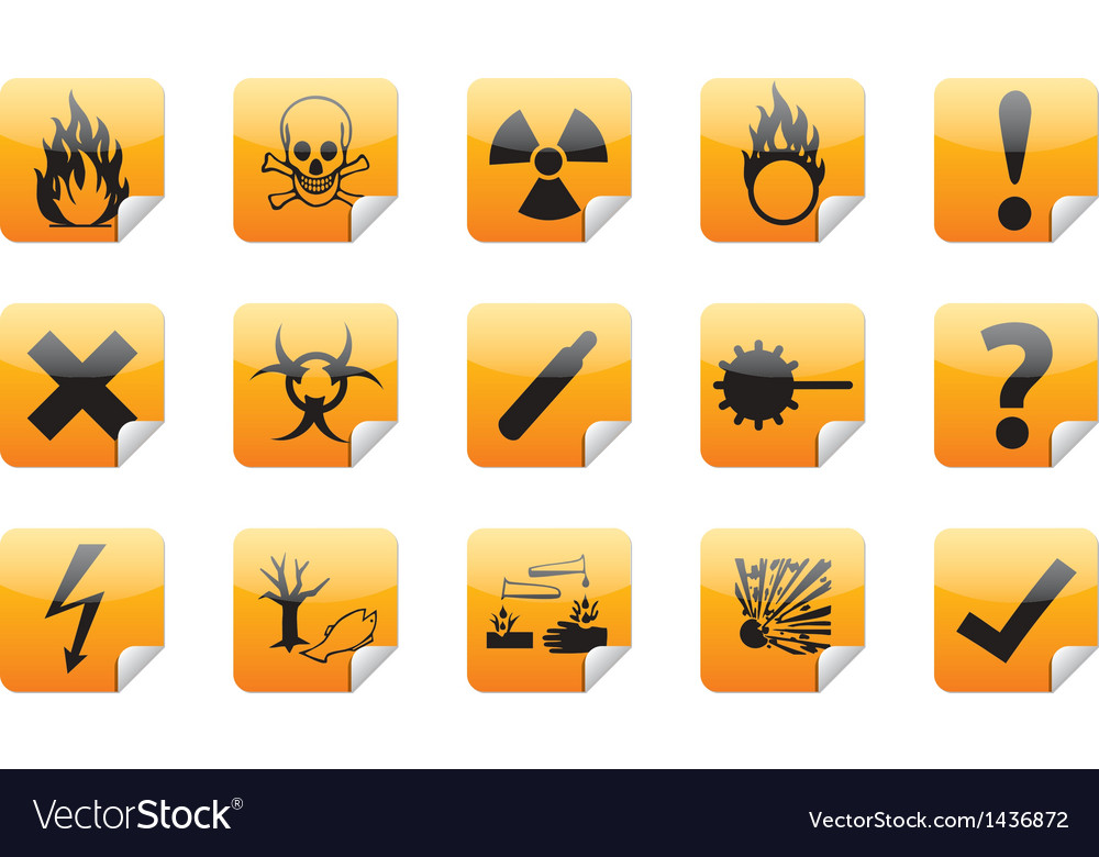 Industrial warning icon stickers vector | Price: 1 Credit (USD $1)