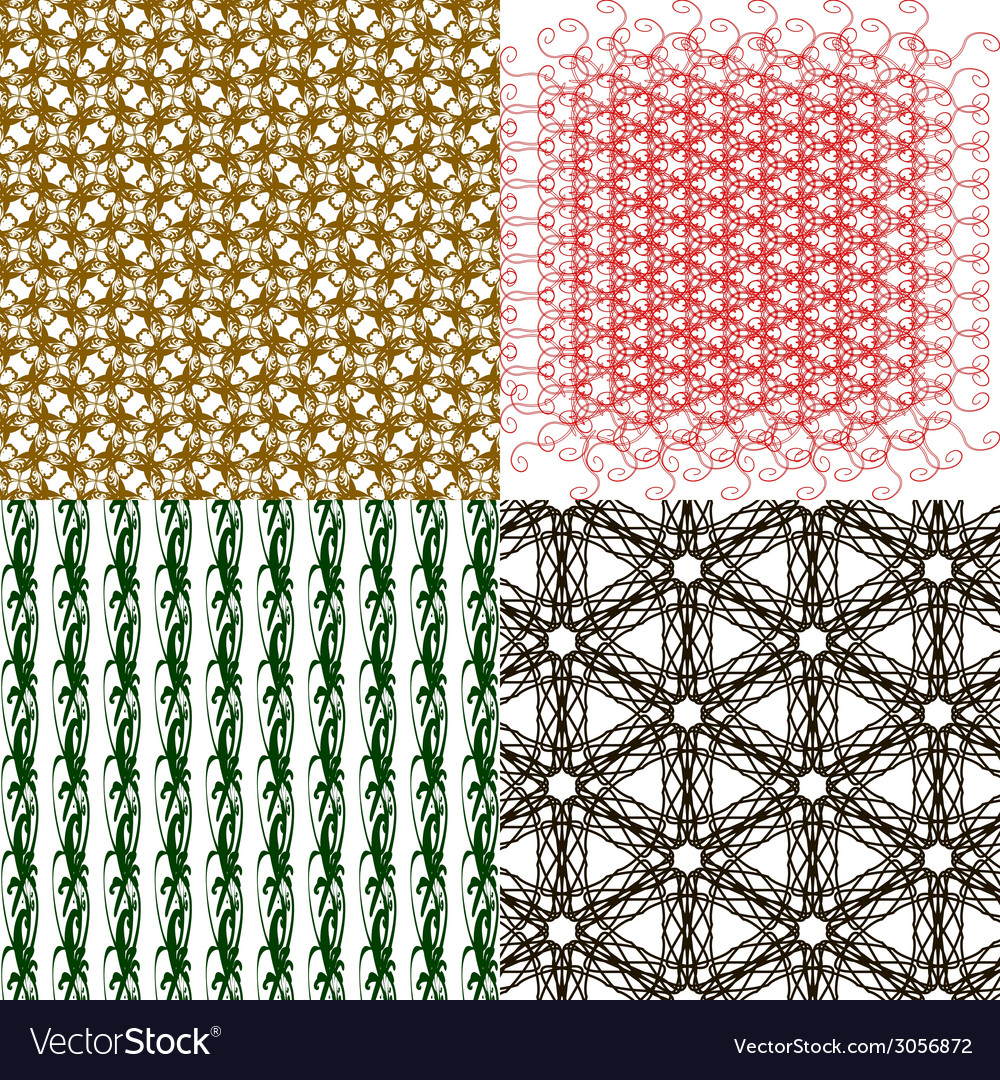 Set of 4 monochrome elegant patterns ornaments may vector | Price: 1 Credit (USD $1)