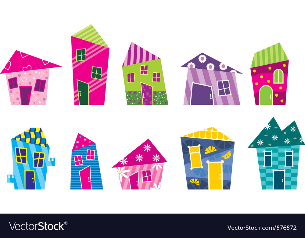 Set of the bright painted cartoon houses vector | Price: 3 Credit (USD $3)