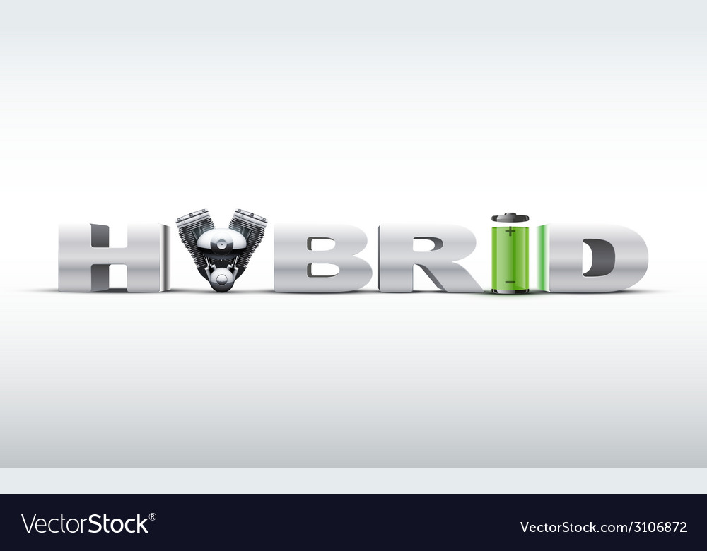 Silver letters hybrid on with engine and battery vector | Price: 1 Credit (USD $1)