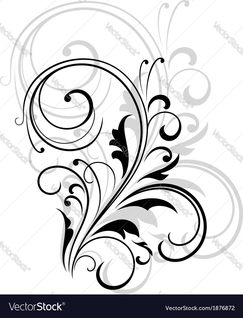 Simple black and white swirling floral element vector | Price: 1 Credit (USD $1)