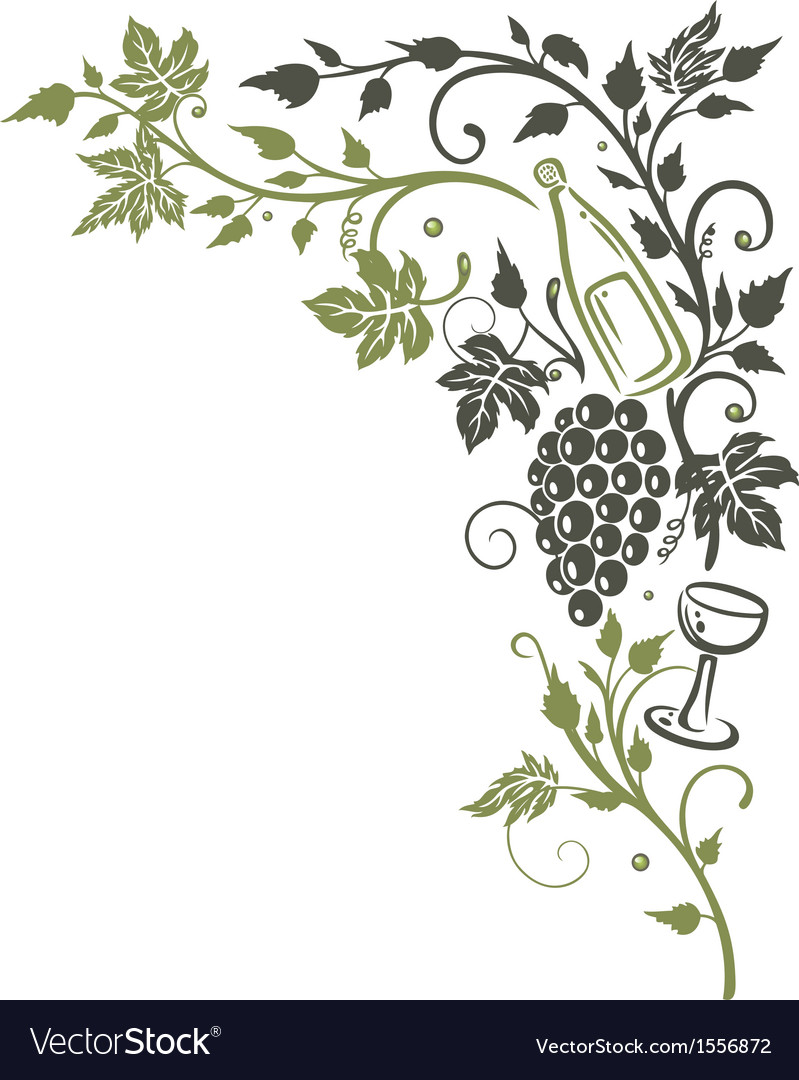 Vine leaves grapes vector | Price: 1 Credit (USD $1)
