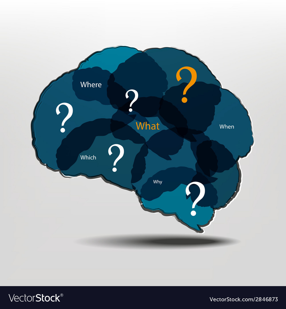 Brain and question marks - questions vector | Price: 1 Credit (USD $1)