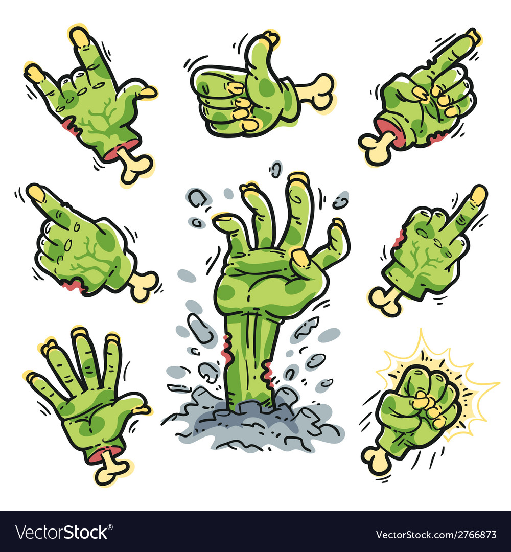 Cartoon zombie hands set for horror design vector | Price: 1 Credit (USD $1)