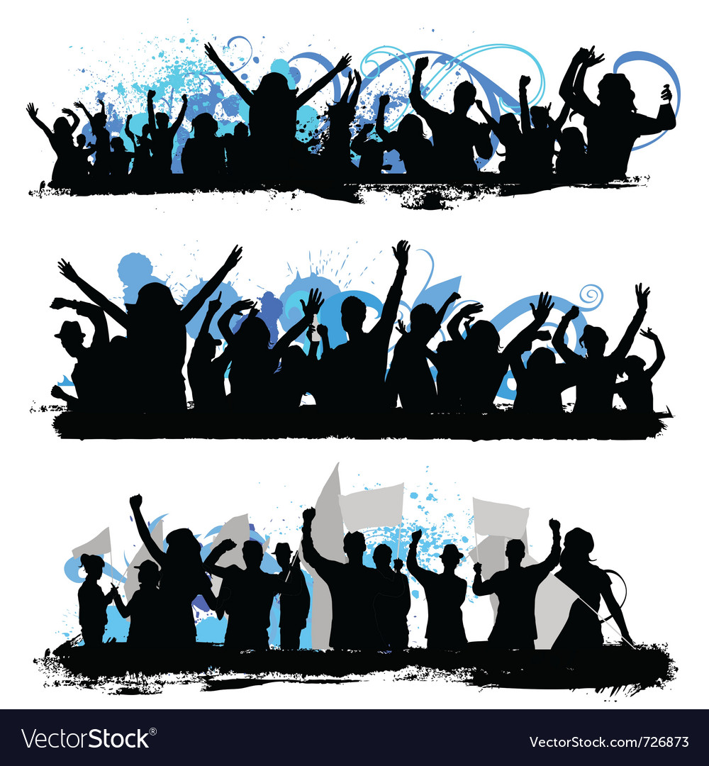 Crowd silhouettes vector | Price: 1 Credit (USD $1)
