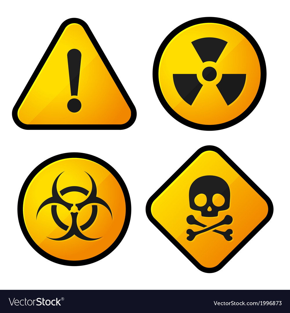 Danger yellow sign icons set vector | Price: 1 Credit (USD $1)