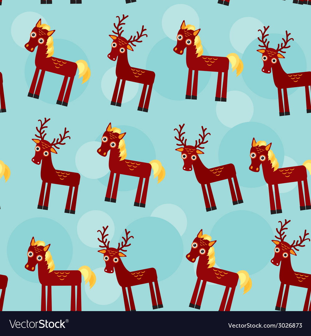 Deer and horse set of funny animals seamless vector | Price: 1 Credit (USD $1)