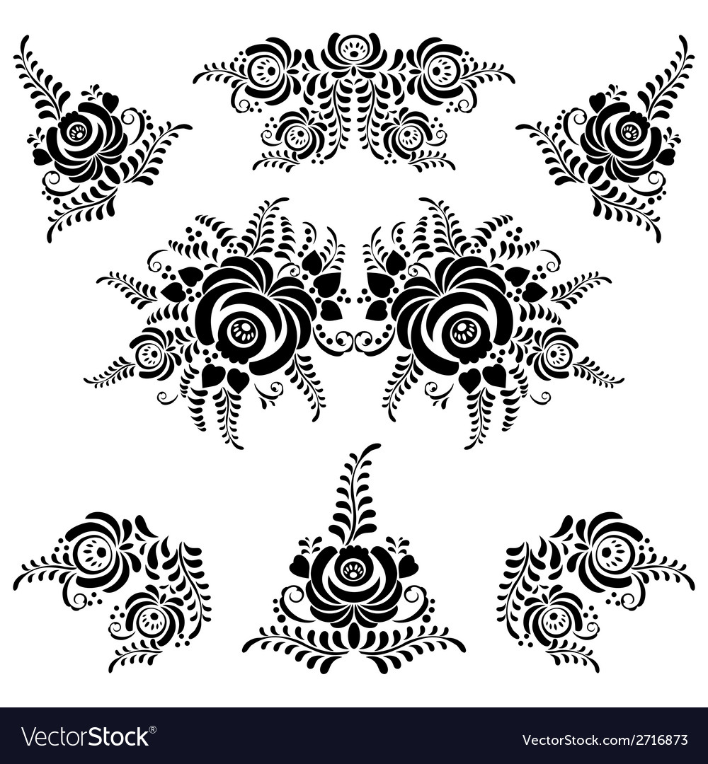 Floral blue elements in gzhel style vector   Price: 1 Credit (USD $1)
