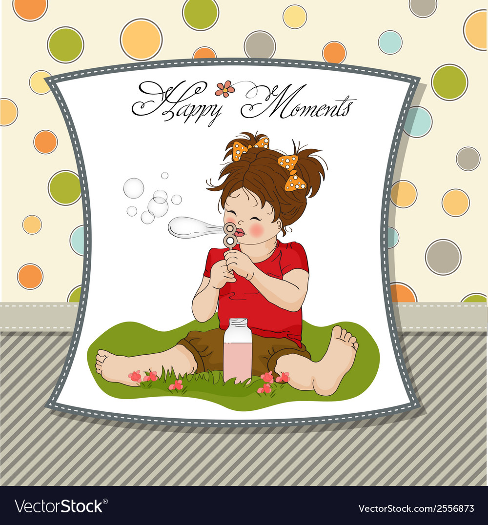 Funny lovely little girl blowing soap bubbles vector | Price: 1 Credit (USD $1)