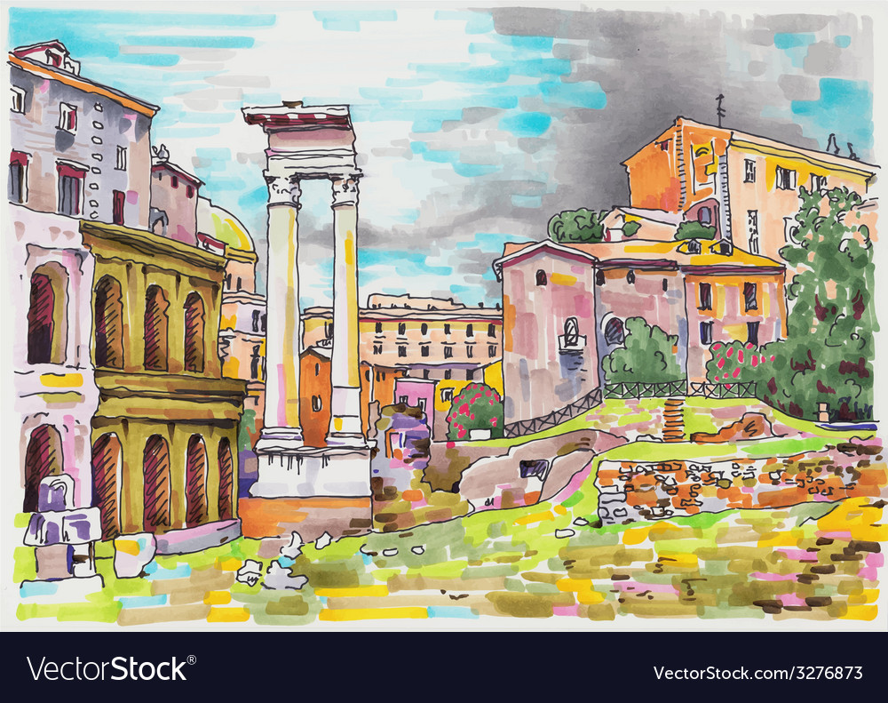 Original marker painting of rome italy cityscape vector | Price: 3 Credit (USD $3)